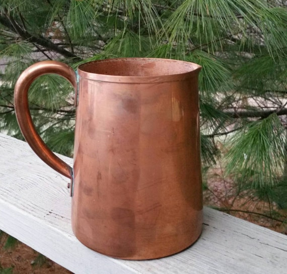 Large Solid Copper Pitcher