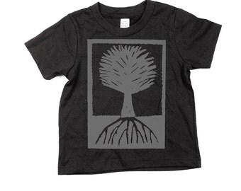 kids tree shirt - Navy - Woodblock Print - Organic Cotton - 2T, 4T, 6T, 8T, 10T, 12T - Spring - Summer - t-shirt - tee -toddler -  youth