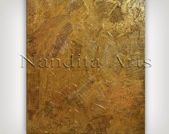 GOLD Art Painting, ORIGINAL Texture Painting, Contemporary Art, HEAVY Palette Knife, Large Office Decor, Textured Wall Art by Nandita