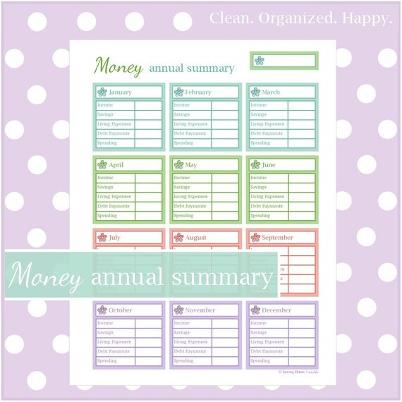 money annual summary worksheet 1 document instant download