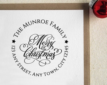 Personalized Return Address Christmas Greeting Stamp Gift Card Handle Mounted Rubber Stamp Or Pre-inked Stamp Self inking stamp R577