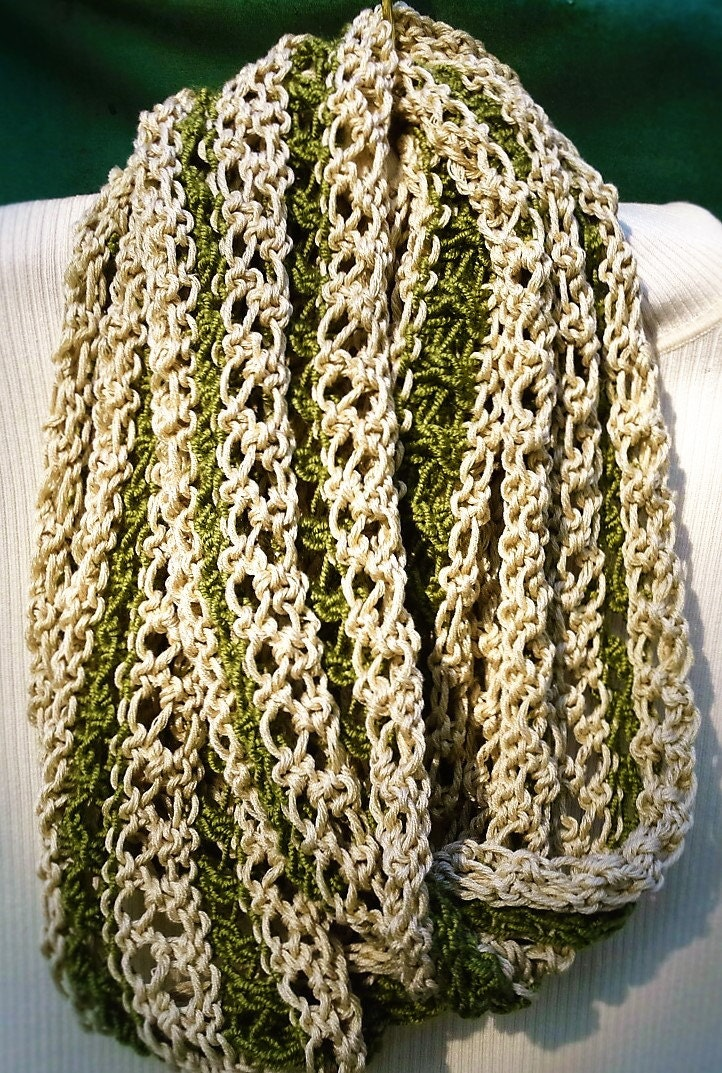 Cowl Hand Knit Green And Beige Spring Summer Cowl Egyptian Cotton