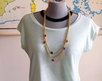 Vintage necklace, golden necklace, golden chain