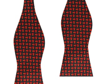 Men's Coquelicot Red Beetle Self Bow Tie (M202-UTBT) Untied Un-tied Tied Bowtie Bowties Ties Men Mens Animal Animals Novelty Print Prints