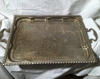 Silvered Tray finely engraved and embossed 1960s