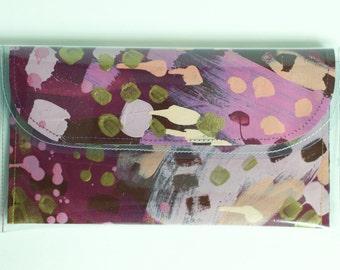 Penny Wristlet Wallet | Painted Canvas. Wedding Accessory. Vegan Purse. Wearable Art. Statement Accessory. Bridesmaid Clutch. Original Bag