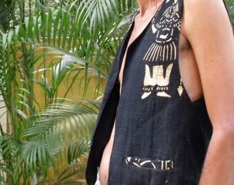 jacket sleeveless cotton, tribal organic black bogolan