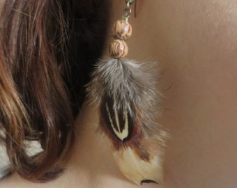 REAL Pheasant Feather Earrings, All natural Feather Earrings