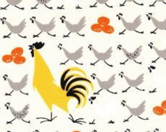 17X44 Alexander Henry Farmdale Chicken Crossing GREY Yellow Fabric don't miss AMAZING Prewashed Rare Very Hard to Find Oop