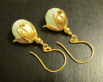 Aquamarine Earrings Drops Dangles Jewelry Demure Floral Victorian Dainty Feminine Luxe by Josephine's Cotillion