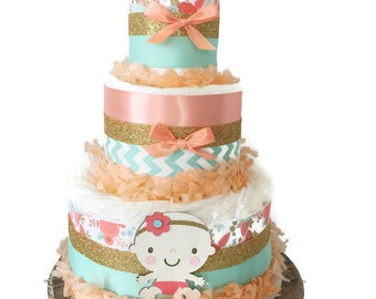 Baby Girl Floral Diaper Cake in Coral, Mint and Gold, Girl Baby Shower Centerpiece