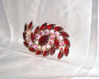 Vintage Red with Pink Rhinestones Swirling Galaxy Style Brooch