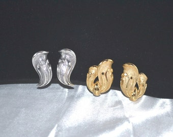 Vintage Signed Tortolani Earrings Two 2 Pair Clip Back Destash
