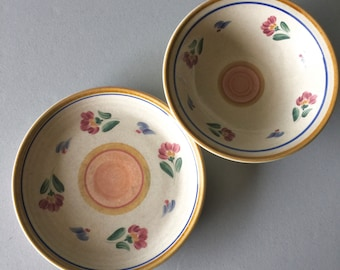 1970u0027s Inter National™ 3pc Tableworks® Sagebrush™ #015 Stoneware Floral  Mustard Blue