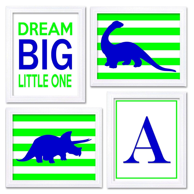 Dinosaur Nursery Art Set of 4 Prints Navy Blue Lime Green Stripes Tyrannosaurus Rex Brachiosaurus Dr