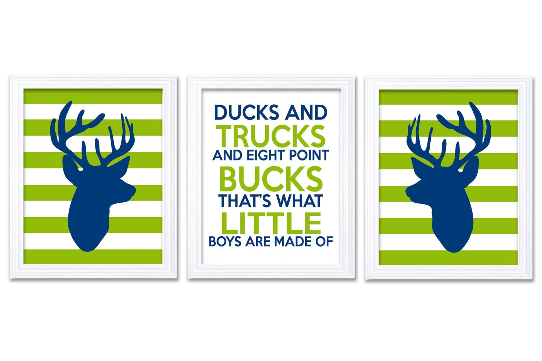Deer Nursery Art Deer Head Prints Set of 3 Ducks Trucks Bucks Little Boys Are Made of Navy Blue Lime