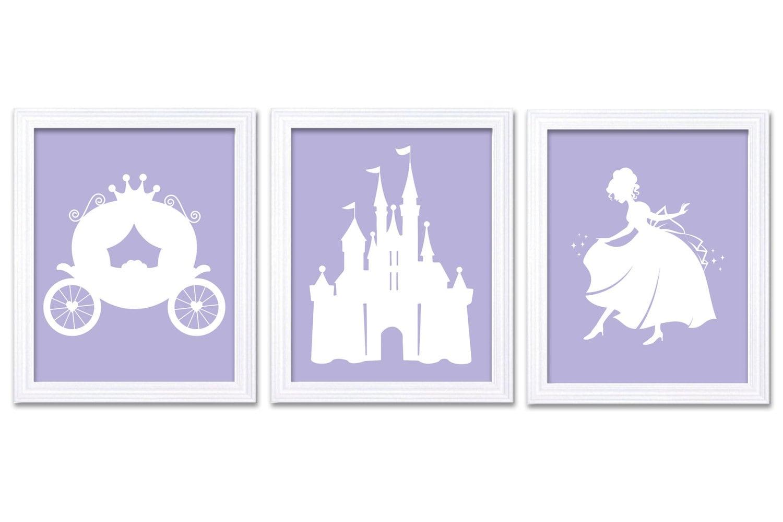 White Lilac Purple Princess Nursery Art Set of 3 Prints Child Art Kids Room Wall Art Baby Girl Decor
