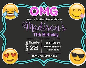 Emoji, Emojicon, Teen, Tween, Birthday Party Invitation - Digital or Printed