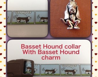 "Basset Hound adjustable dog collar with basset hound charm ""What you see is what you get"""