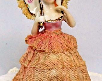 Vintage Figurine Lady with Parasol Stiffened Lace Ceramic