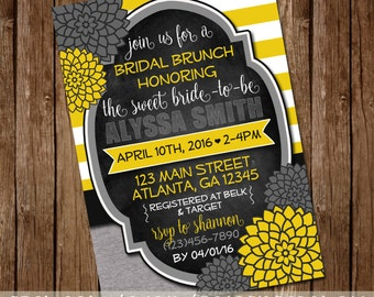 Gray & Yellow Bridal Shower Invite - Baby Shower or General Invite - 5x7 - Digital Download - Printable