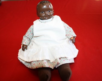 Early Plastic Unmarked Black Doll
