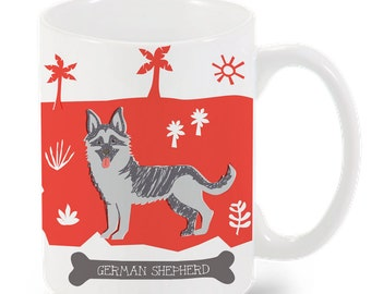 German Shepherd Mug-City Mug-Coffee-Tea-Kitchen-Red-Grey-Kitchen-Foodie-Cooking-Baking-Personalized-Custom