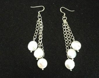 Three Pearl Coins Dangle Earrings