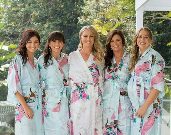 LONG Floral Peacock Satin Bridal/Bridesmaid Robes/Gowns