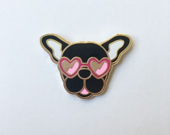 Black frenchie pin