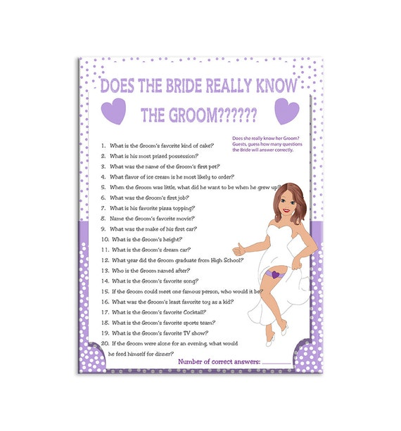 Printable Wedding Shower Game How Well Does The Bride
