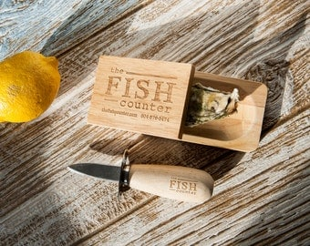 Custom Engraved Oyster Knife and Shucking Block | Personalized with Your Logo, Monogram, Date, or Birthday Gift Message