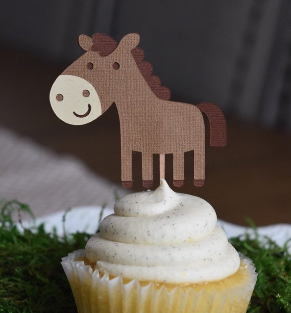 Horse cupcake toppers, Farm/Farm Theme Party