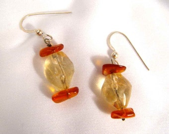 Amber and Citrine Dangle Earrings Sterling Silver French Ear Wires