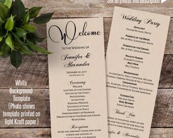 Printable Wedding program, Wedding program template, Instant download self editable PDF WP-115