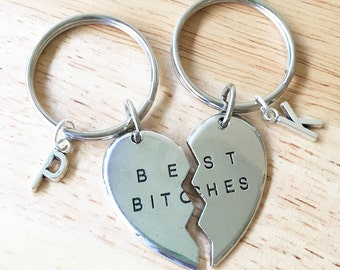 Best Bitches Keychains/ 2 Best Bitches Split Heart Key Chains/ Besties Keyrings/ Best Bitches Initial Keychains/ Double Trouble Key Rings