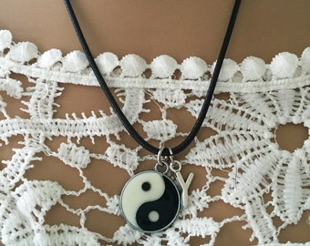Yin Yang Necklace/ Yin Yang Dragon Necklace/ Inlaid Yin Yang Necklace/ Inlaid Yin Yang Dragon Initial Necklace/ Yin Yang/ Dragon on Back