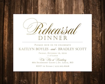 White & Gold Rehearsal Dinner Invitation
