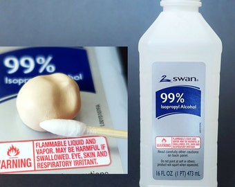 16 fl oz 99% Isopropyl Alcohol or Rubbing Alcohol - great for cleaning dust particles and fingerprints on polymer clay