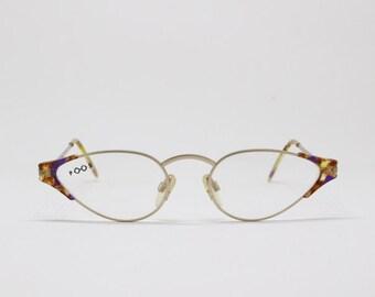Poul Stig glasses, original 80s eyewear, 50s cat eye design, tortoise and rose gold metal frame