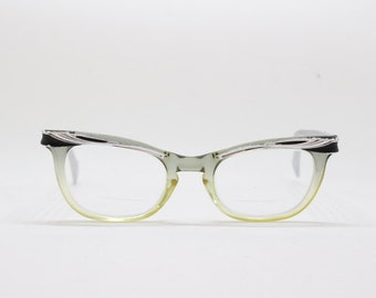 Original 1950s vintage black and silver cat eye spectacles. Acetate  and aluminium frame. Eyeglasses, clear lens glasses.