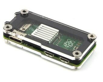 Zebra Zero Raspberry Pi Zero Case, Original and Zero Wireless~ Black Ice with Heatsink