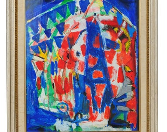 """Untitled Abstract"""" 1950s modernist Oil Painting"""