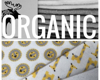 Organic Cloth Baby Wipes - Reusable Baby Cloth Diaper Wipes - Set of 12 Wipes - Yellow & Grey Lions/Giraffes/White