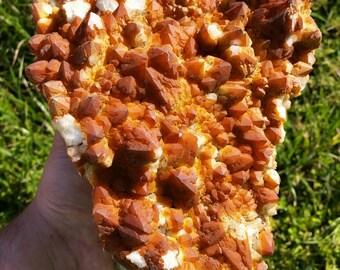 "Massive Hematite Coated Orange Quartz Cluster from the Diamond Hill Mine, South Carolina - 8.8"" x 6.9"" x 5.5"" (224mm x 175mm x 140mm)"