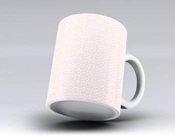 The Coral and White Micro Polka Dots -ink Fuzed Ceramic Coffee Mug or Tea Cup