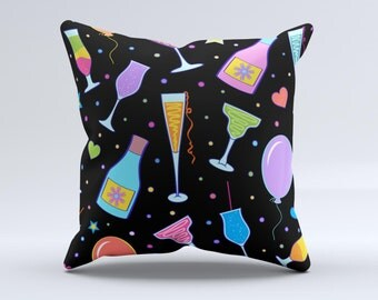The Neon Party Drinks ink-Fuzed Decorative Throw Pillow