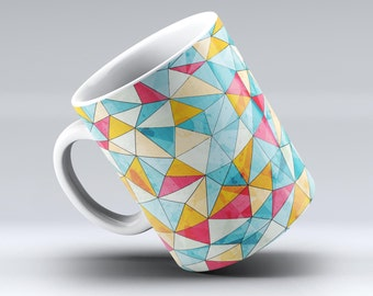Triangular Geometric Pattern-ink Fuzed Ceramic Coffee Mug or Tea Cup