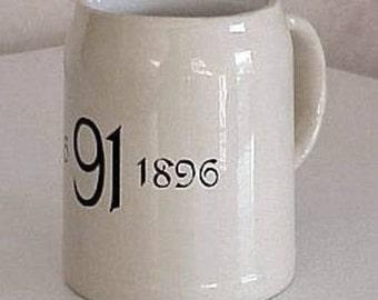 Antique Mettlach Villeroy & Boch Beer Mug Mercury Ink Stamp Depicting Dates