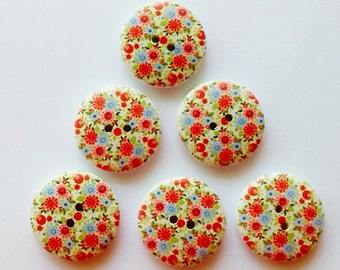 6 x 25mm Pale green with blue and orange flowers wooden buttons